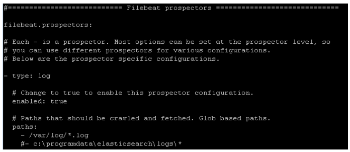 Filebeat prospectors config