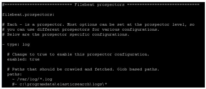 Filebeat prospectors config