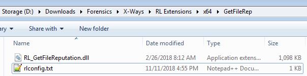 Folder for GetFileReputation extension
