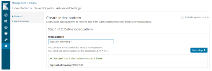 Creating a Kibana index pattern