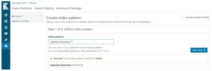Creating a Kibana index pattern