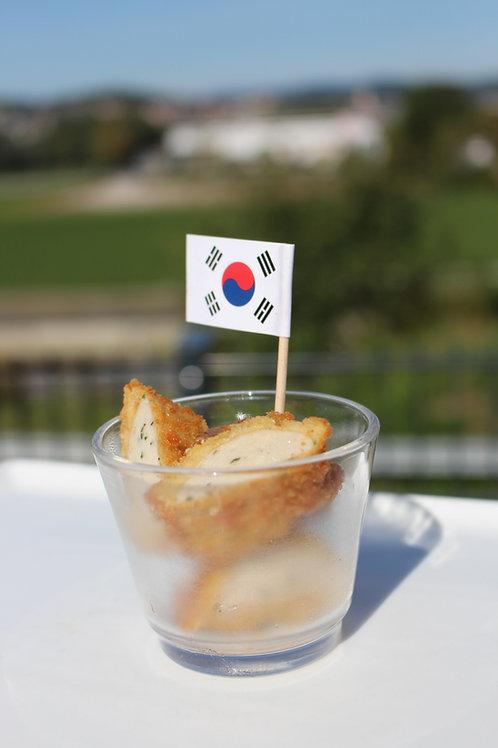 63_PREMIUM: Paniertes Weißwurstschnitzel|süßer Senf| Laugenkonfekt