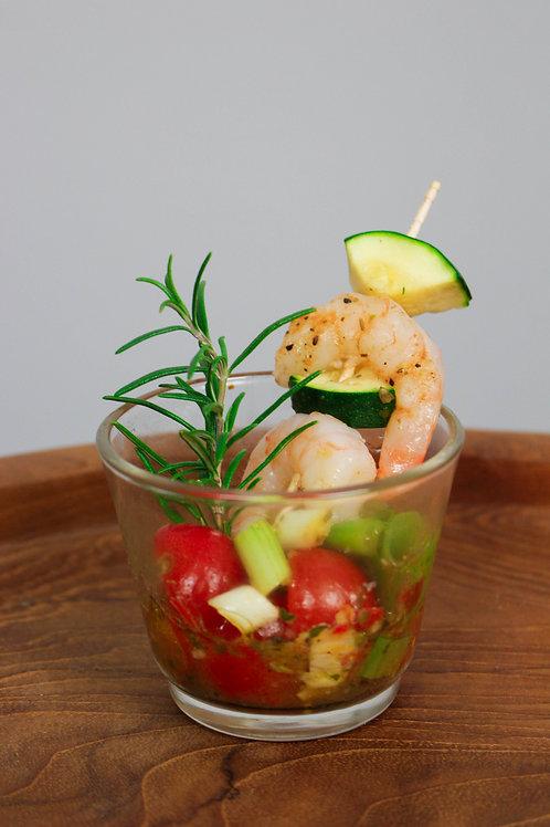 52_PREMIUM: Tomaten-Lauchcoktail| Crevettenspieß| Passionsfruchtaceto