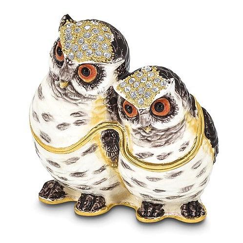 OLGA and OMAR Mother and Baby Owl Trinket Box