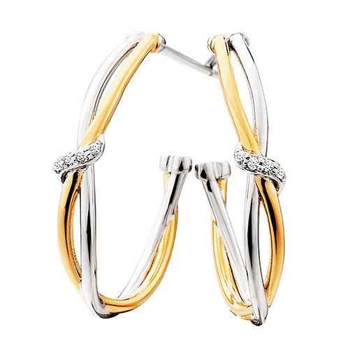 double twist with CZ ribbon hoop Earrings