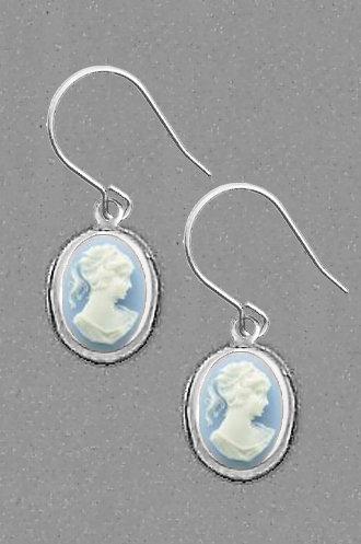 Blue Cameo Earrings