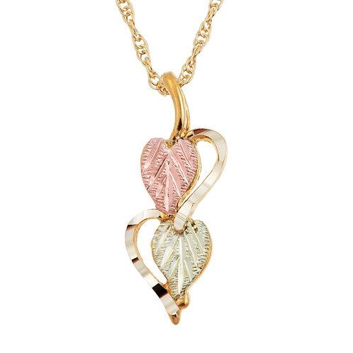 Black Hills Gold Double Heart Pendant