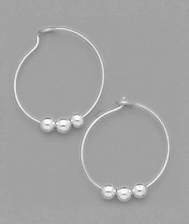 3 Bead Hoop Earrings