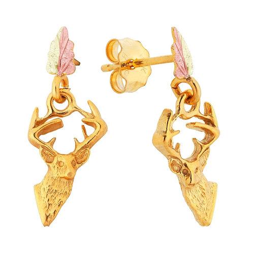 Black Hills Gold Deer Head Earrings