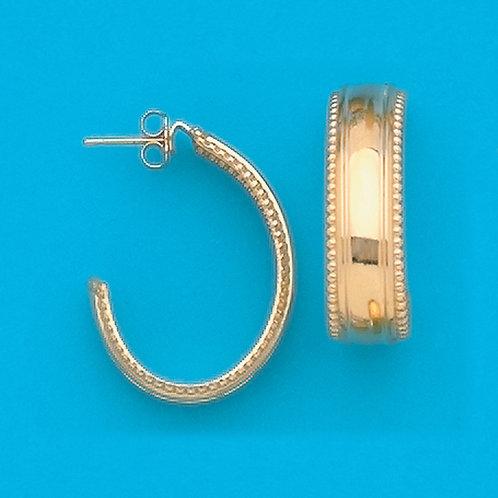 Beaded J Hoop Earrings