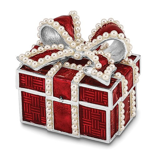 Silver-tone Enameled EXCITEMENT Faux Pearl Red Gift Box Trinket Box