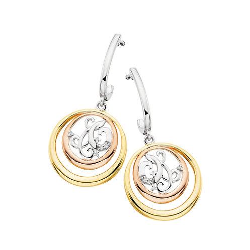 Tri Color Circle Drop Earrings