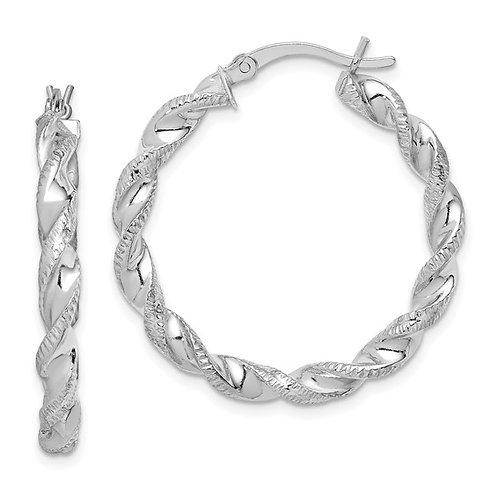 Rhodium plated twist hoop Earrings