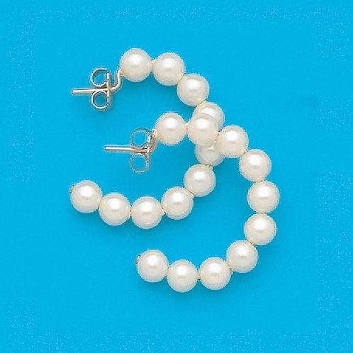 Simulated Pearl Hoop Earrings