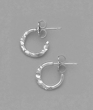 """3/8"""" Hammered Hoop Earrings"""