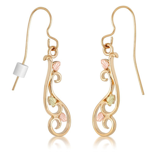 Black Hills Gold Swirl Dangle Earrings