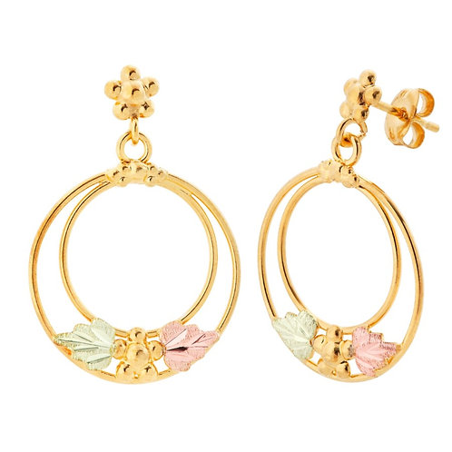 Black Hills Gold Dangle Metal Stamp Earrings
