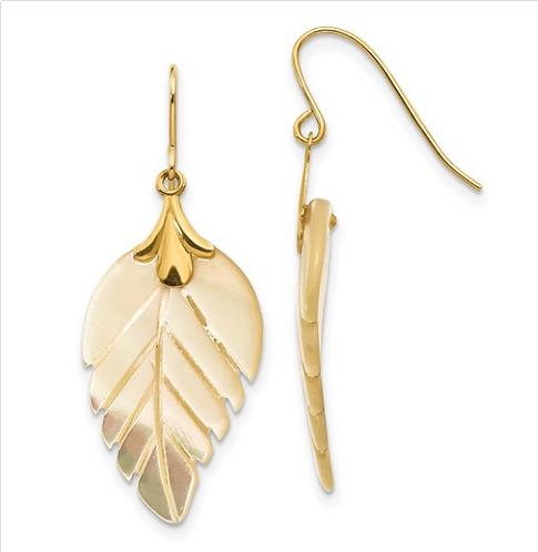 Mother of PearlLeaf Dangle Earrings