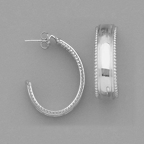 Beaded J Hoop Metal Color Earrings