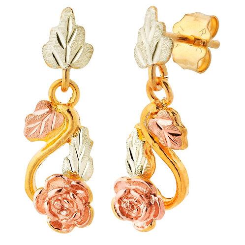 Black Hills Gold Drop Metal Stamp Earrings