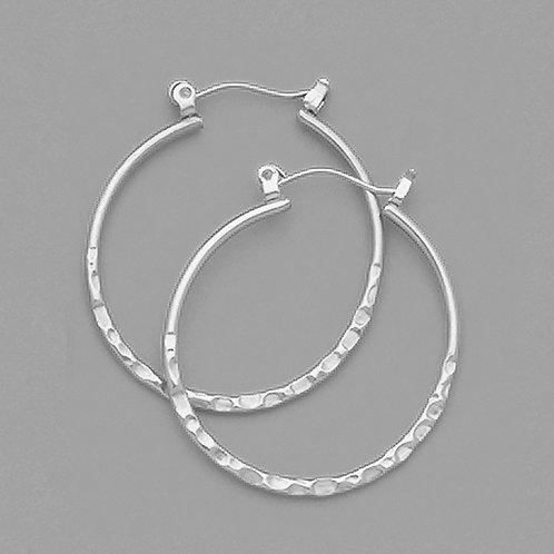 Hammered Hoop Metal Color Earrings