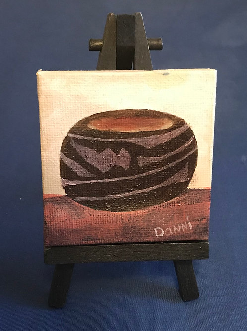 Miniature 3X3 Canvas with attached easel two