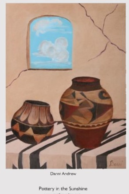 Print is an 11X17 of an original oil painting titled Pottery in the Sunshine