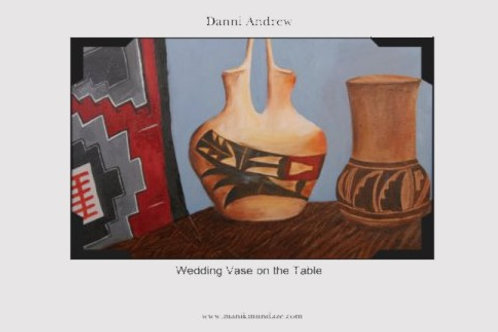 Print is an 11X17 of an original oil painting titled Wedding Vase on the Table