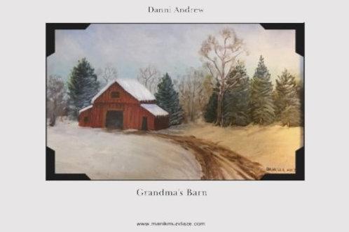 Print of an Original Oil Painting - Grandma's Barn