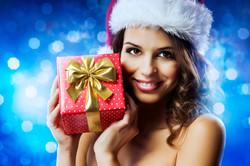 Christmas girl with a present
