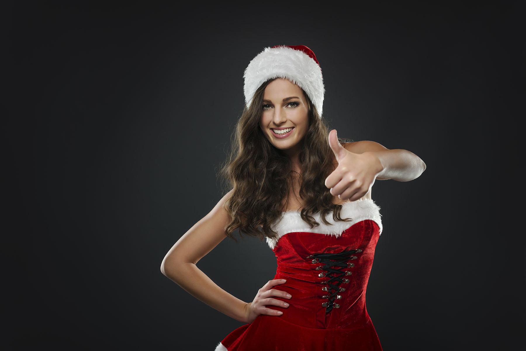 Christmas girl on black