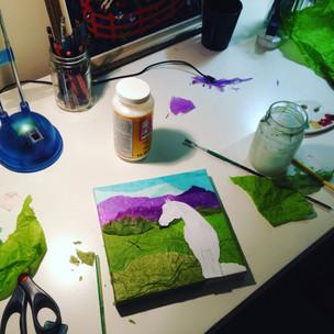 Tissue Paper Collage WIP