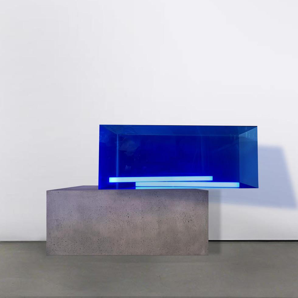 Blue transperent acrylic cube, concrete cube, LED blue neon light Installation view