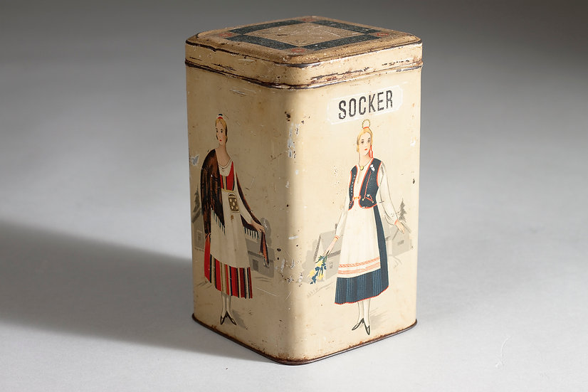"Finnish 1920s Sugar ""Socker"" Can"