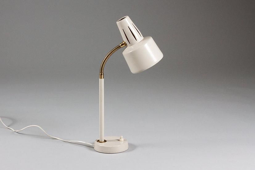 Swedish White Brass Mid-Century Modern Desk Lamp, BJS