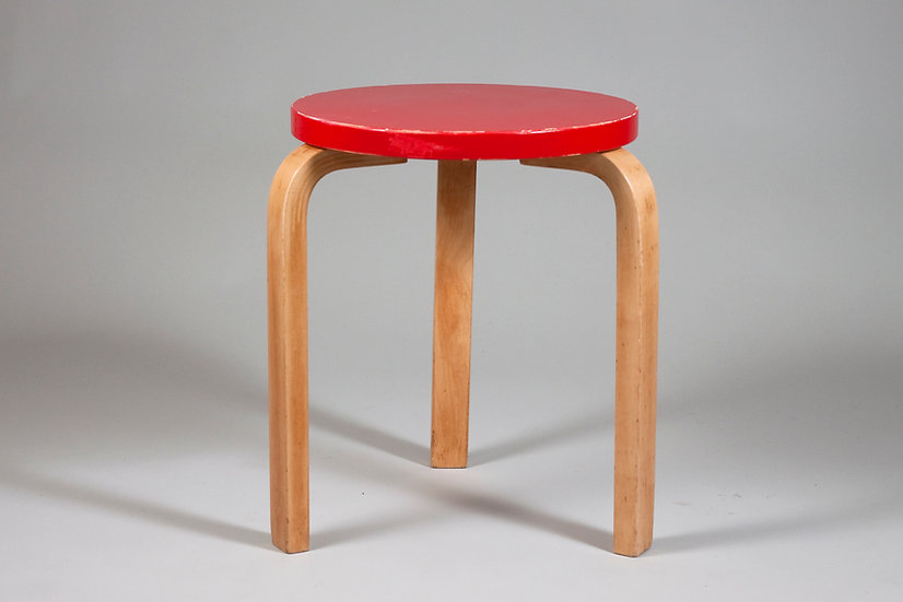 Early Alvar Aalto Stool 60 in Red Paint, Artek, Finland