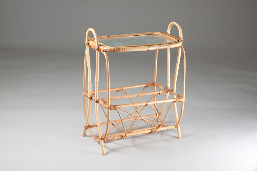 Rattan and Glass, Small Coffee table / Magazine Rack, 1950/60s