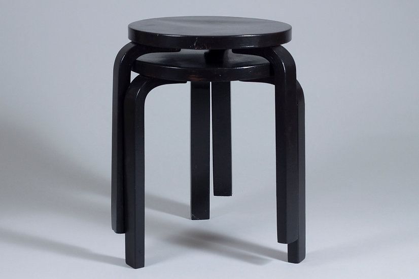 Two Alvar Aalto Early 60 Stools with Finger Joints