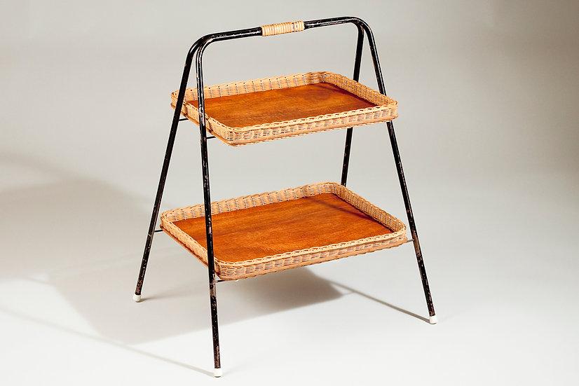 Mid-Century Scandinavian Rattan and Teak Side Table / Rack