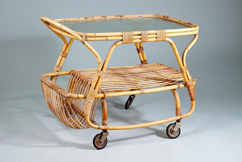 Mid-Century Finnish Rattan Bar Cart