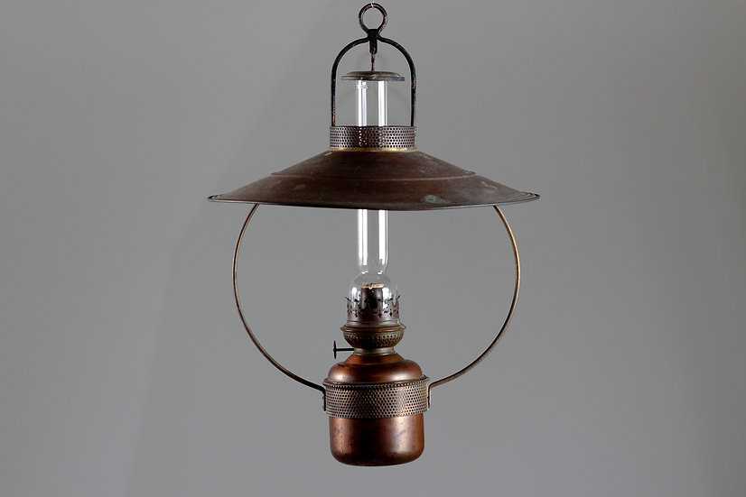 Beautiful Hanging Oil Lamp in Brass and Copper