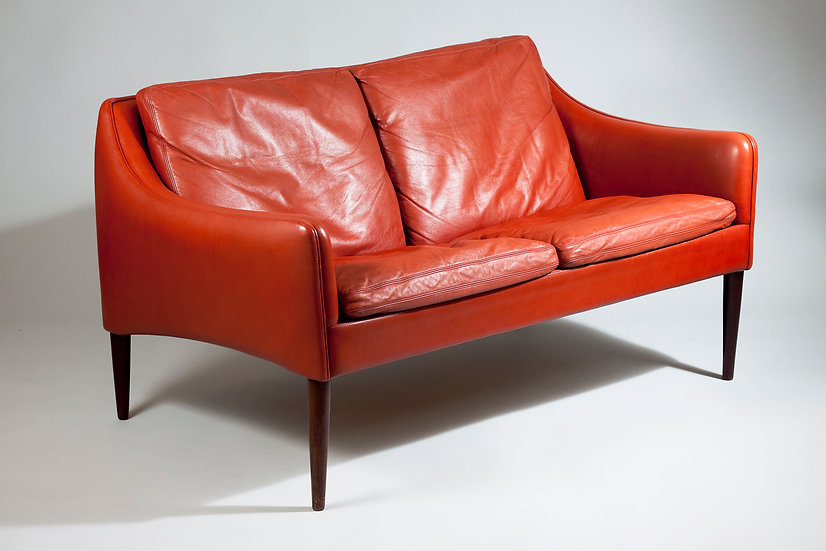 Danish 1960s Cranberry Two-seater Leather Sofa by Hans Olsen for CS Møbler