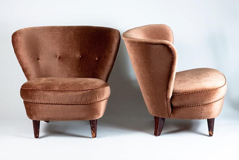 Pair of Swedish 1940s Lounge Chairs, attr. Gösta Jonsson