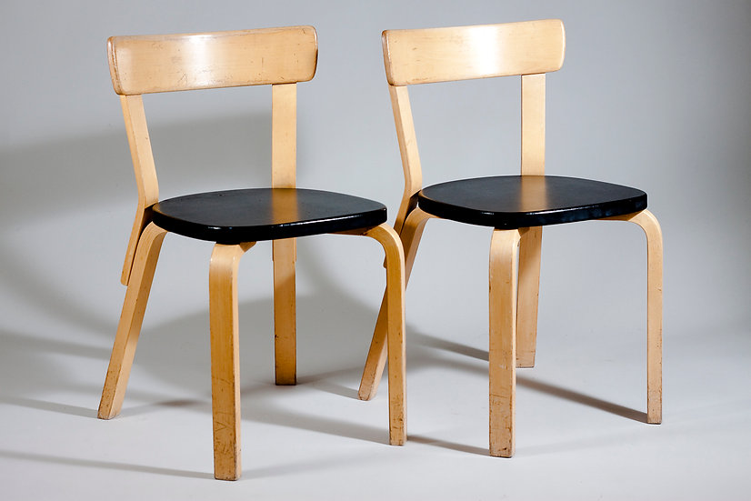 Pair of Alvar Aalto Chair 69, Black Leatherette, for Artek, FInland