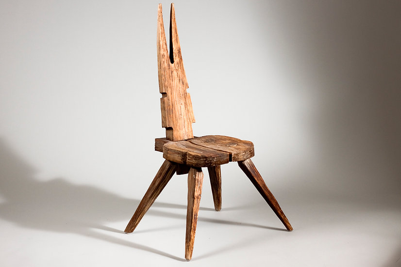 Finnish Hand Carved Folky Chair