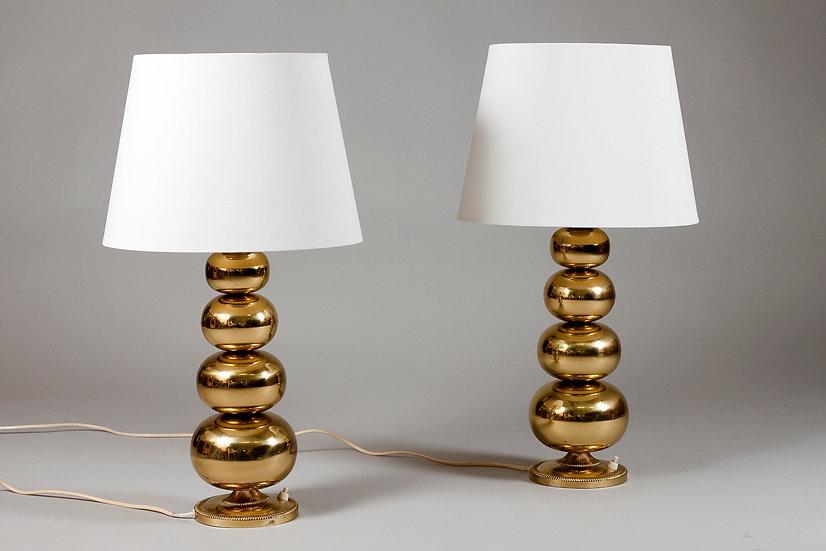 Pair of 1960s Scandinavian Modern Brass Desk Lamps