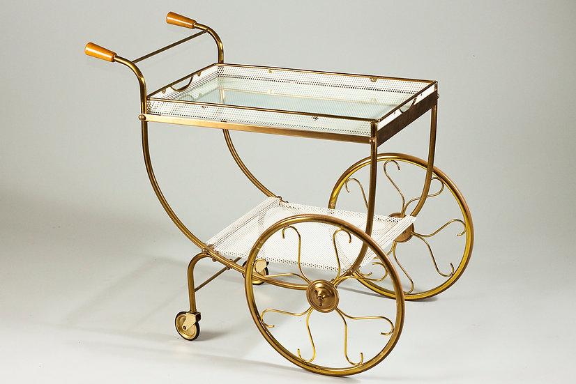Scandinavian Modern Brass Serving Cart by Josef Frank for Svenskt Tenn, 1950s