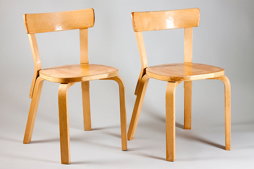 Pair of Alvar Aalto Early Chair 69, Artek, Finland