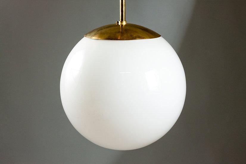 Beautiful Finnish Mid-20th Century Brass Opaline Glass Sphere Light
