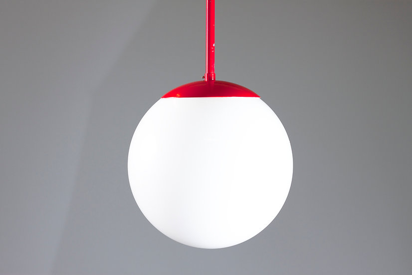 Red Sphere Pendant Light by Heikki Turunen for Orno, Finland